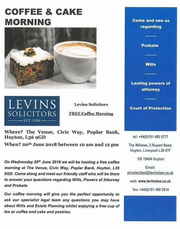 Private Client Coffee Morning The Venue Huyton Wednesday  10 12